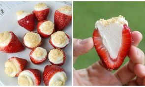 These cheesecake-stuffed strawberries are total dessert bliss