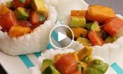 VIDEO: Tropical Salmon Sushi Cups