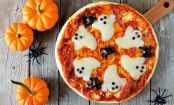 Spooky BOO-fallo Mozzarella Pizza With Spider Olives