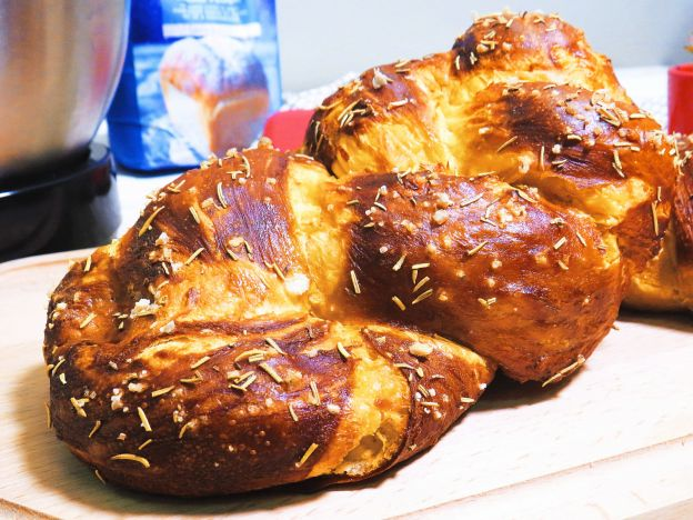 Pretzel Challah with Cheddar and Rosemary