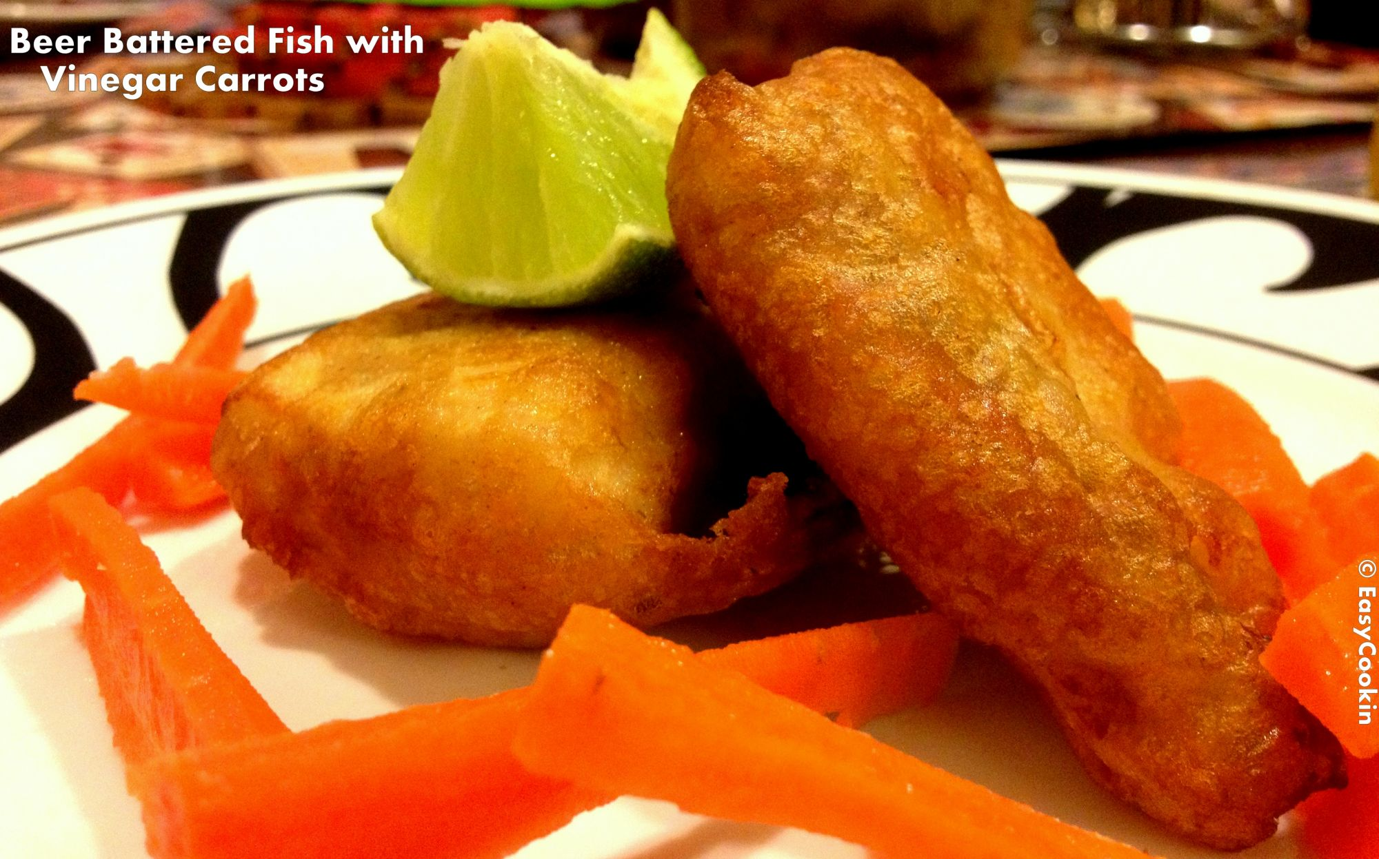 Beer battered fish with vinegar carrots recipe 4 1 5 for Beer batter fish