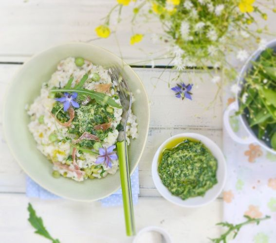 Risotto with spring peas and pesto