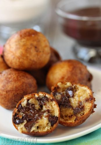 Chocolate chip cookie fritters