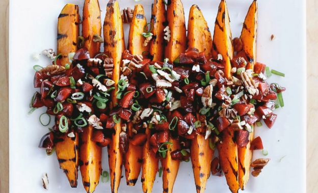 Grilled Sweet Potatoes with Cherry Salsa and Quinoa