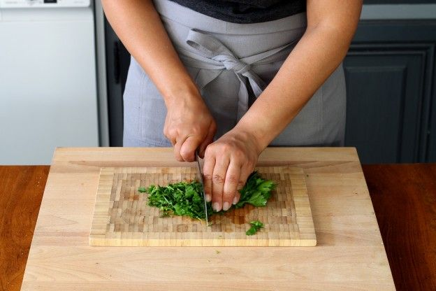 Finely chop the parsley and mint