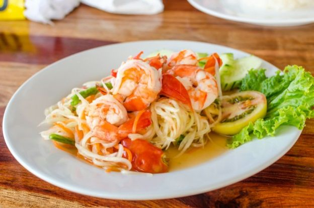 THAILAND - Som tam: Green papaya and marinated shrimp salad