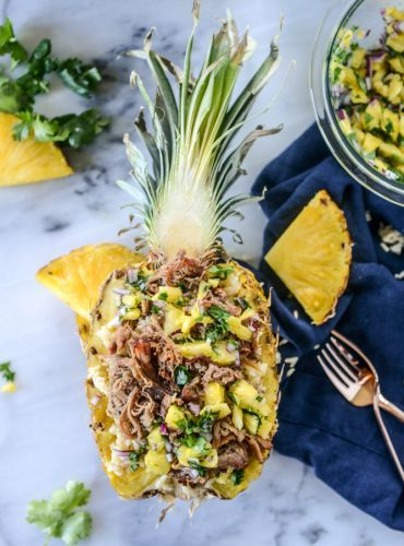 Slow Cooker Jerk Pork In Pineapple Bowls