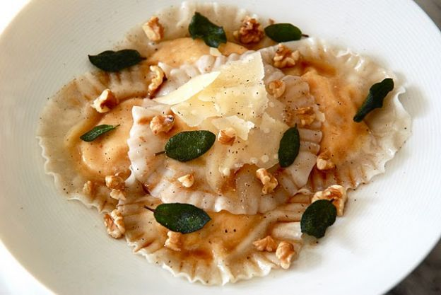 Butternut squash and mascarpone ravioli with brown butter crispy sage leaves and shaved parmesan