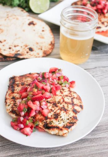 Cilantro Lime Chicken with Strawberry Jalapeno Salsa