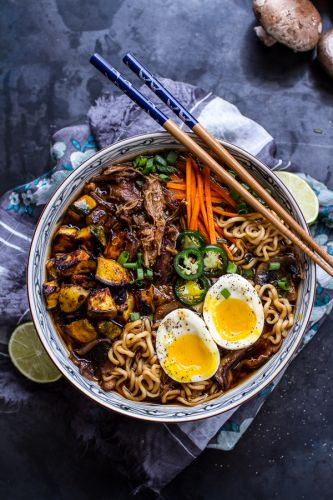 Caramelized pork ramen noodle soup