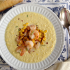 Fresh Corn And Potato Chowder With Sauteed Shrimp