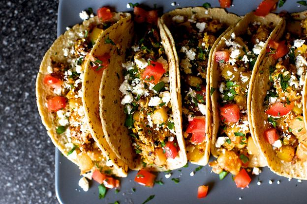 Egg, Potato and Chorizo Tacos with Queso Fresco