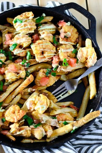 Shrimp po boy loaded fries