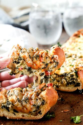 Easy Spinach Dip Stuffed French Bread