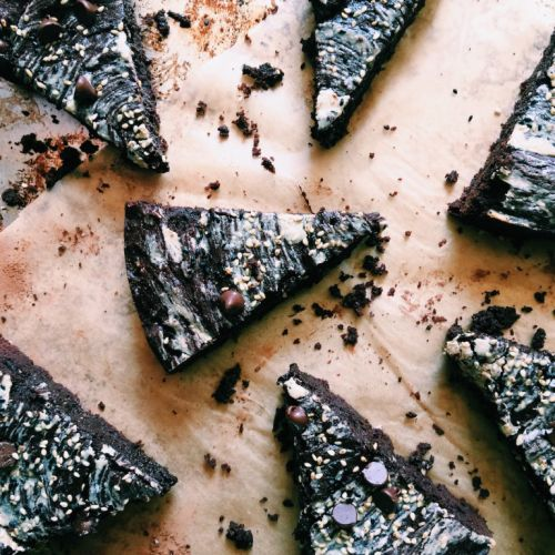 Tahini Brownies with Black and Tan Sesame Sprinkles