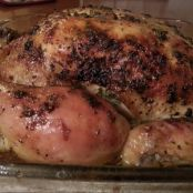 Roasted Chicken stuffed with Garlic, Rosemary and Lemon