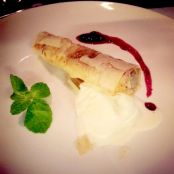 BAKLAVA CIGARILLAS with VANILLA ICE CREAM AND BLUEBERRIES