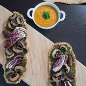 Butternut Squash Soup with Winter Pesto Flatbread