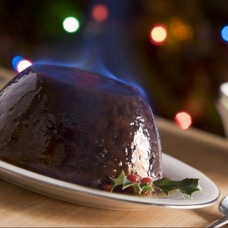 Mom's Boozy Plum Pudding with Hard Sauce
