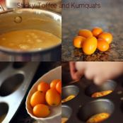 Upside Down Sticky Toffee Pudding with Kumquats and Salted Cashews - Step 1