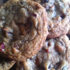 Chocolate Cranberry Christmas Cookies with Toffee Crunch