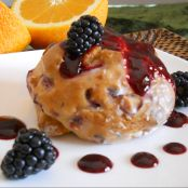 Orange Cranberry Biscones with Blackberry Coulis