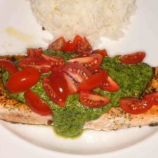 Herb Crusted Salmon with Arugula Citrus Pesto and Grape Tomatoes