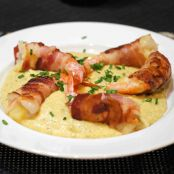 Recipe for bacon-wrapped, cheese-stuffed shrimp & green chile grits