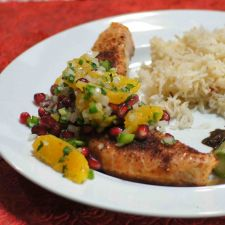RECIPE: Grilled salmon with orange & pomegranate salsa