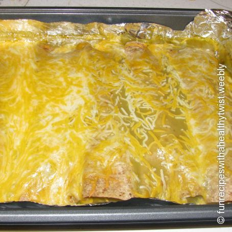 Shredded Chicken Green Chile Enchiladas