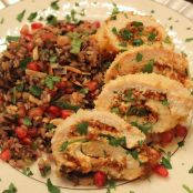 Holiday Chicken Roulade with Pomegranate  Pilaf