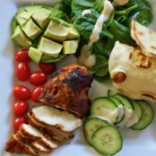 Tandoori chicken salad with mint garlic buttermilk dressing
