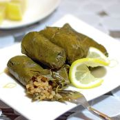 Meatless grape leaves stuffed with lemon