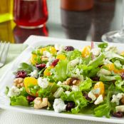 Summer Salad with Dried Cranberries, Fresh Fruit, Gorgonzola Cheese & Balsamic Vinaigrette