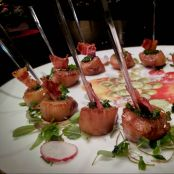 Spicy Scallop with Cilantro Pistou and Bacon Chip