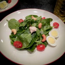 Baby Greens salad with Quail Egg