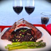 Lovers Balsamic Glazed Rack of Lamb with Forbidden Rice and Grilled Asparagus