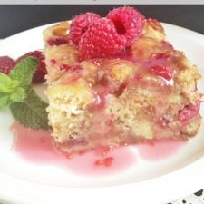 Bread and Butter Pudding with Rhubarb Coulis