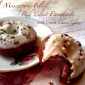 Mascarpone Filled Red Velvet Doughnuts with Cream Cheese Glaze