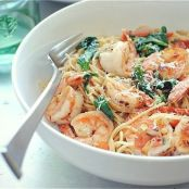 Angel hair pasta with shrimp, chili and tomatoes
