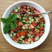 Middle Eastern Style Cucumber Tomato and Onion Salad
