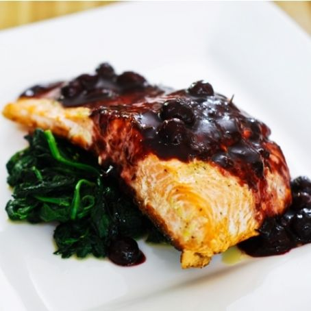 Baked Salmon with Blueberry Sauce