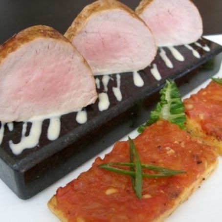 Pork Fillet, French Toast with tomato, Cream Corn