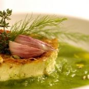 Garlic Flan in Parsley Emulsion