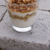 Cottage cheese, banana and caramel and toasted oatmeal Parfait
