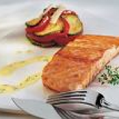 Salmon with truffle cream.