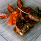Lamb chops and carrots with orange