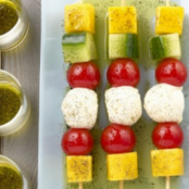 Tomatoes, Mangoes, and Cucumbers Kebabs with Vanilla Oil