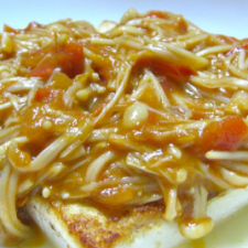 Tofu steaks with butter soy sauce