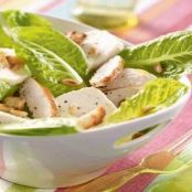 Chicken Caesar salad with goat cheese